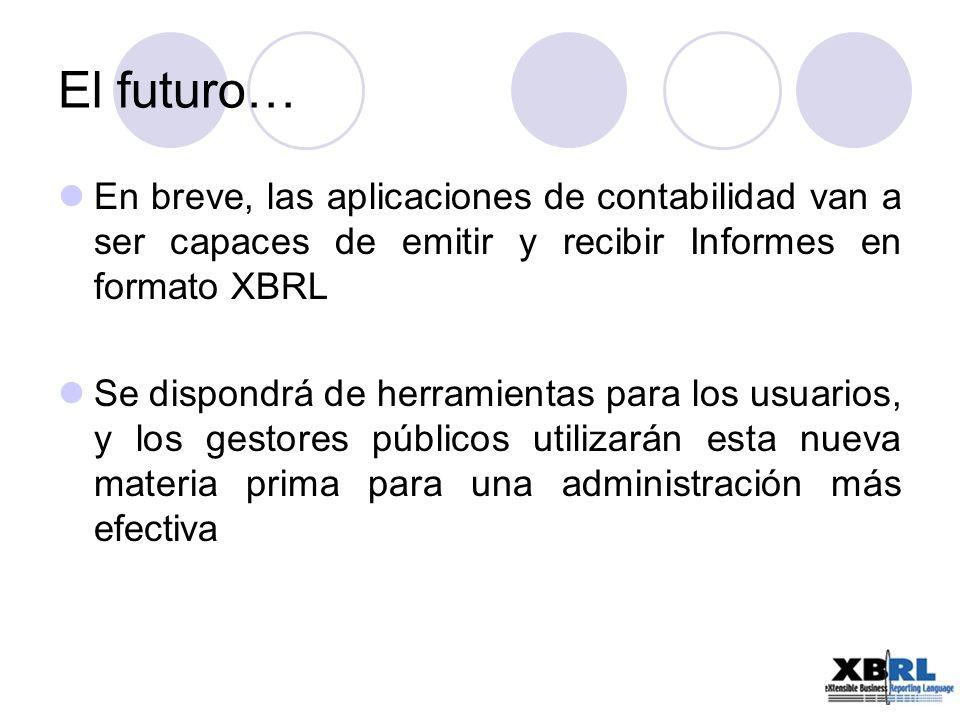 El futuro… En breve, las aplicaciones de contabilidad van a ser capaces de emitir y recibir Informes en formato XBRL.