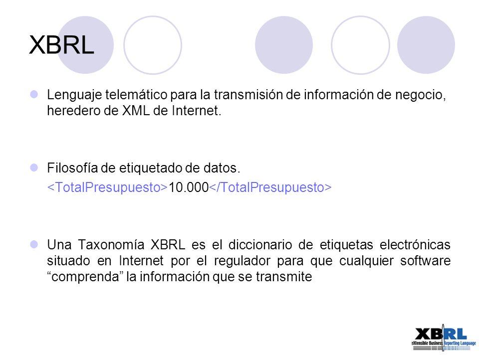 XBRL Lenguaje telemático para la transmisión de información de negocio, heredero de XML de Internet.