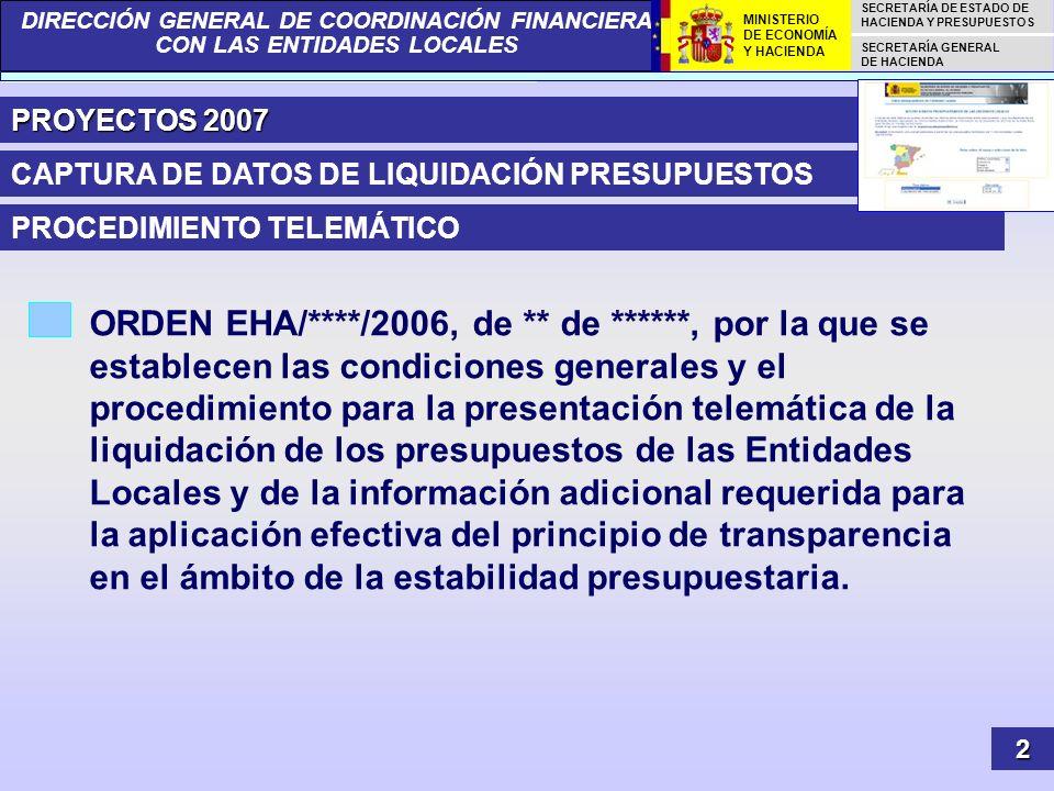 PROYECTOS 2007CAPTURA DE DATOS DE LIQUIDACIÓN PRESUPUESTOS. PROCEDIMIENTO TELEMÁTICO.