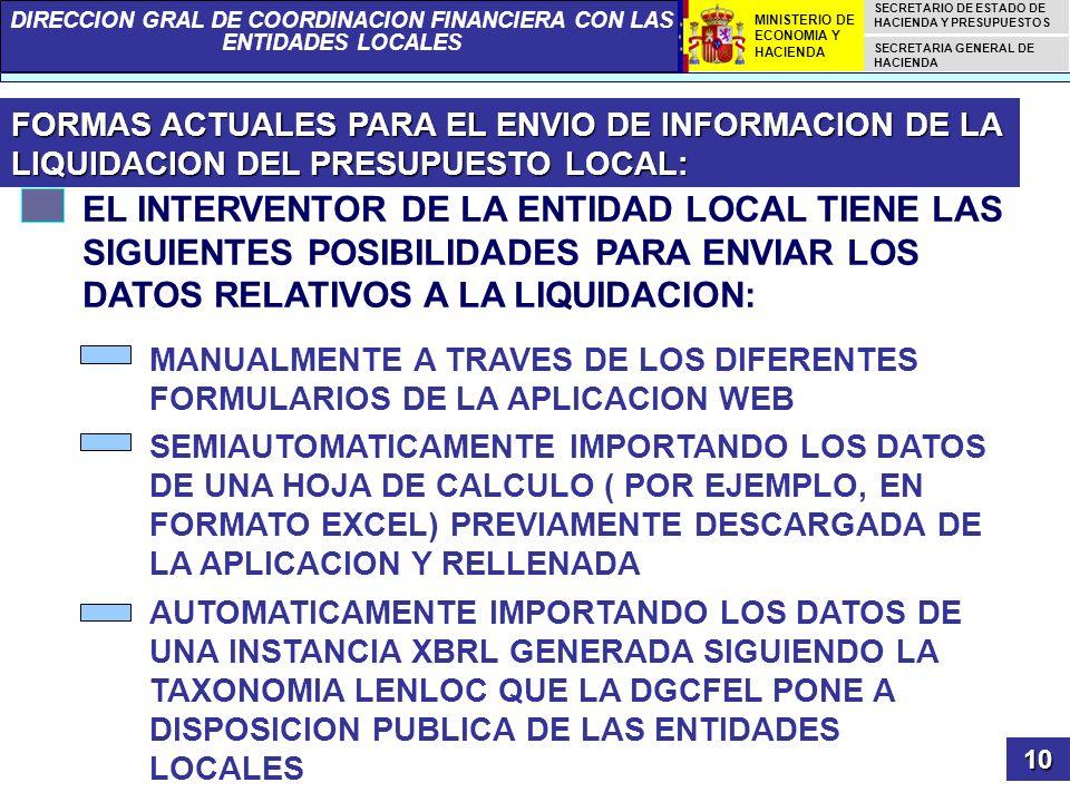 FORMAS ACTUALES PARA EL ENVIO DE INFORMACION DE LA LIQUIDACION DEL PRESUPUESTO LOCAL: