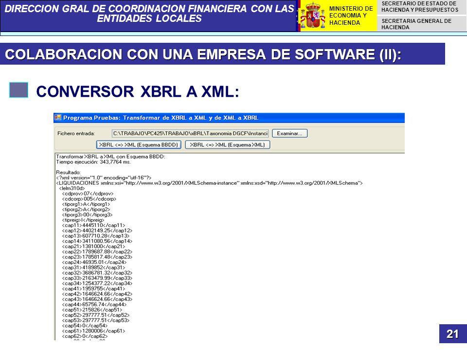 CONVERSOR XBRL A XML: COLABORACION CON UNA EMPRESA DE SOFTWARE (II):