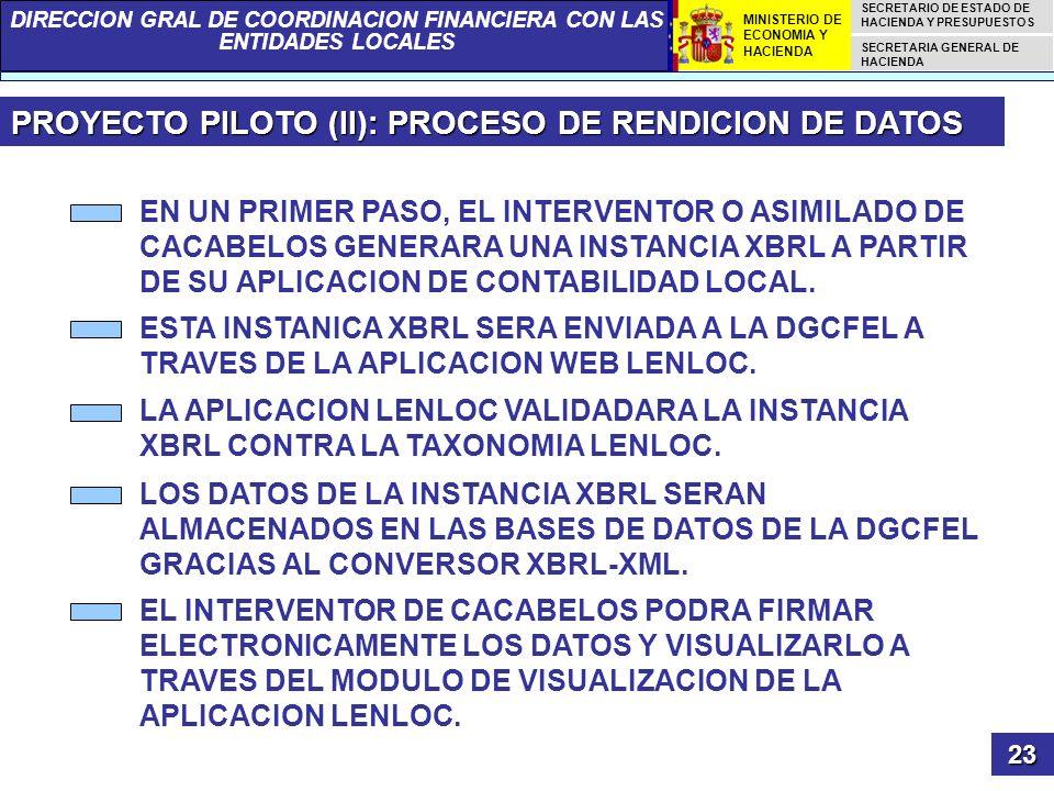 PROYECTO PILOTO (II): PROCESO DE RENDICION DE DATOS