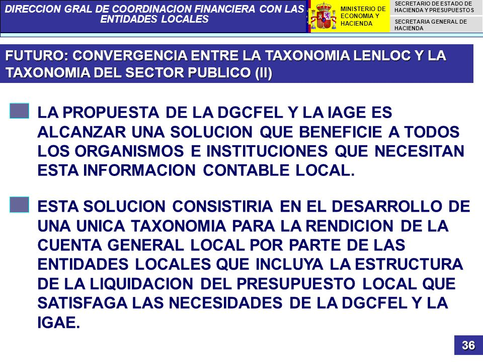 FUTURO: CONVERGENCIA ENTRE LA TAXONOMIA LENLOC Y LA TAXONOMIA DEL SECTOR PUBLICO (II)