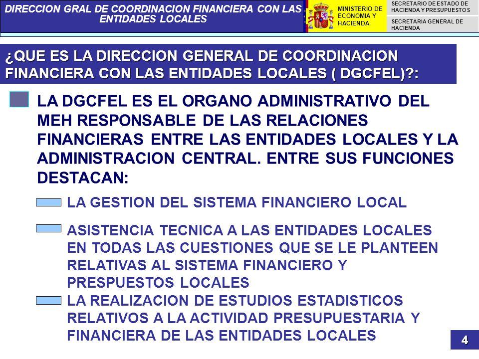 ¿QUE ES LA DIRECCION GENERAL DE COORDINACION FINANCIERA CON LAS ENTIDADES LOCALES ( DGCFEL) :