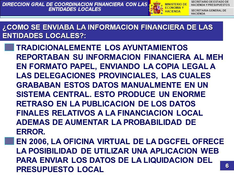 ¿COMO SE ENVIABA LA INFORMACION FINANCIERA DE LAS ENTIDADES LOCALES :