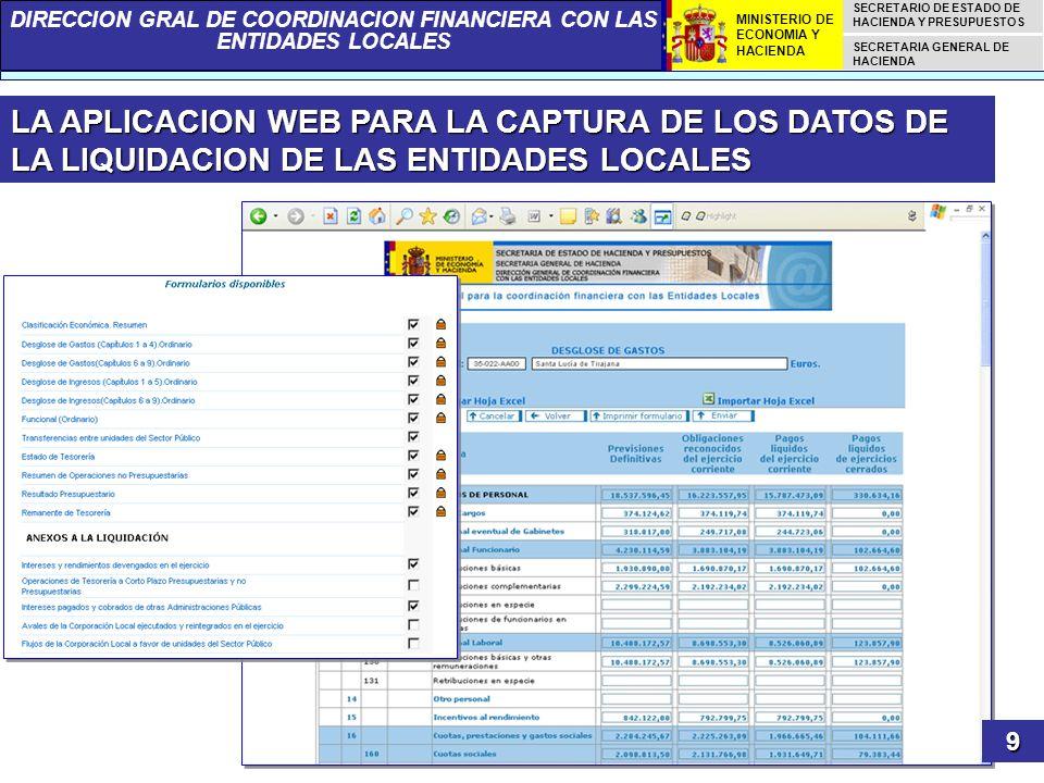 LA APLICACION WEB PARA LA CAPTURA DE LOS DATOS DE LA LIQUIDACION DE LAS ENTIDADES LOCALES