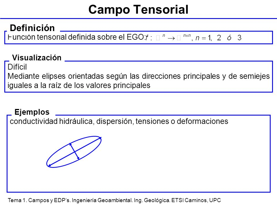 Campo Tensorial Definición Función tensorial definida sobre el EGO: