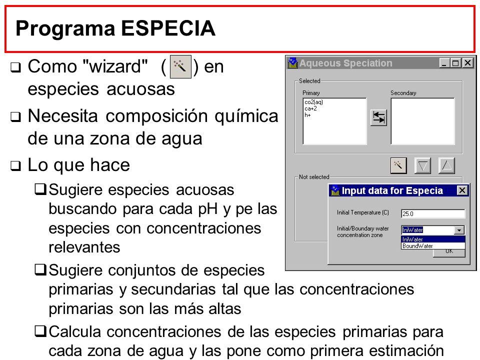 Programa ESPECIA Como wizard ( ) en especies acuosas