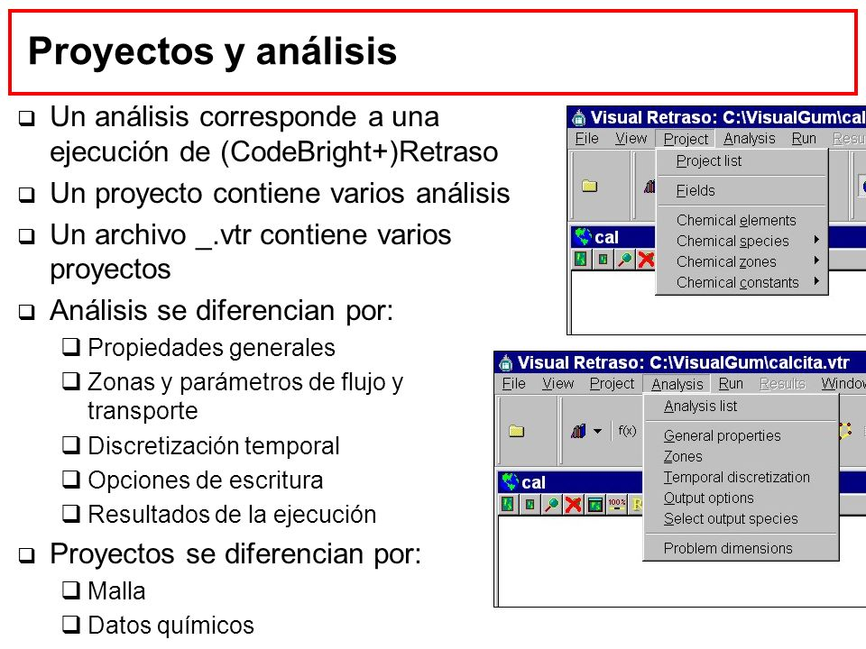Proyectos y análisis Un análisis corresponde a una ejecución de (CodeBright+)Retraso. Un proyecto contiene varios análisis.