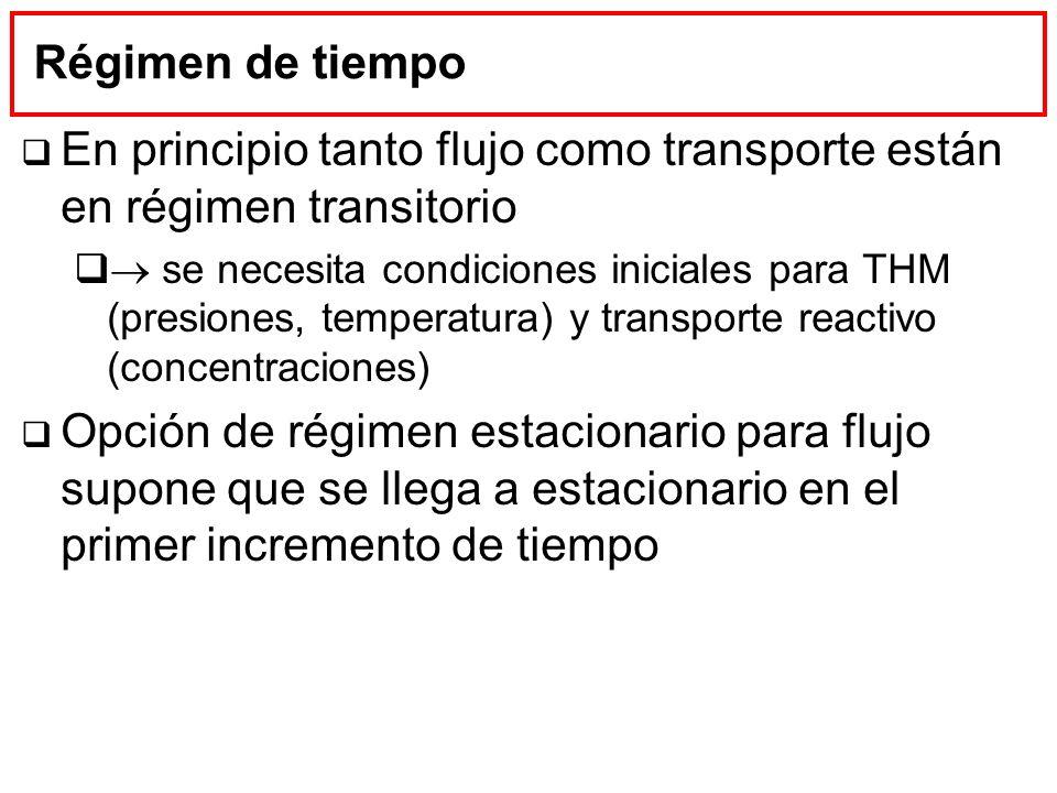 En principio tanto flujo como transporte están en régimen transitorio