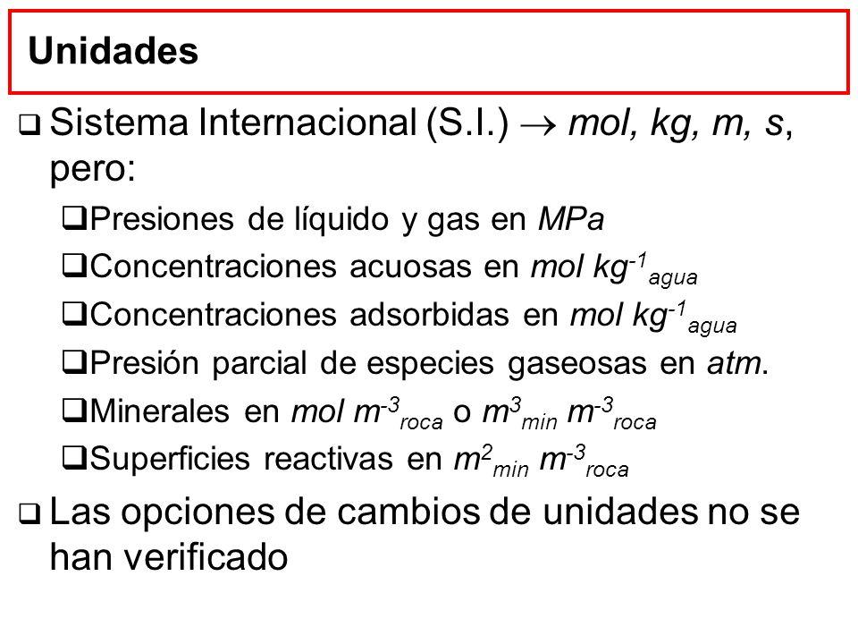 Sistema Internacional (S.I.)  mol, kg, m, s, pero: