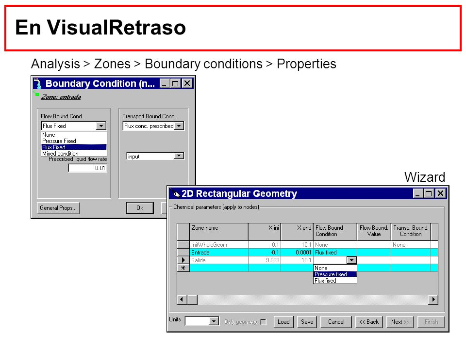 En VisualRetraso Analysis > Zones > Boundary conditions > Properties Wizard