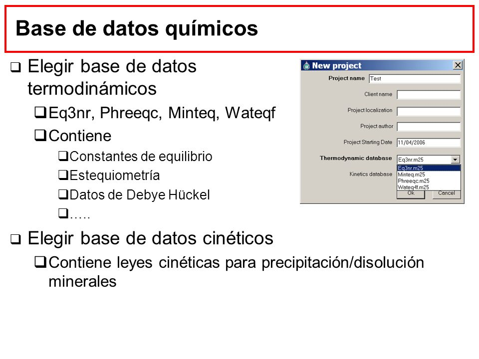 Base de datos químicos Elegir base de datos termodinámicos