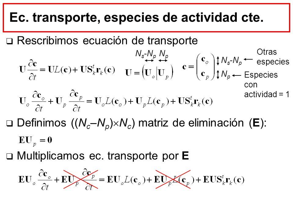 Ec. transporte, especies de actividad cte.