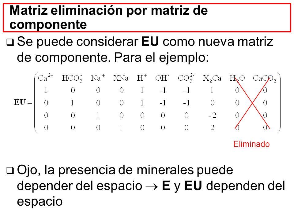 Matriz eliminación por matriz de componente