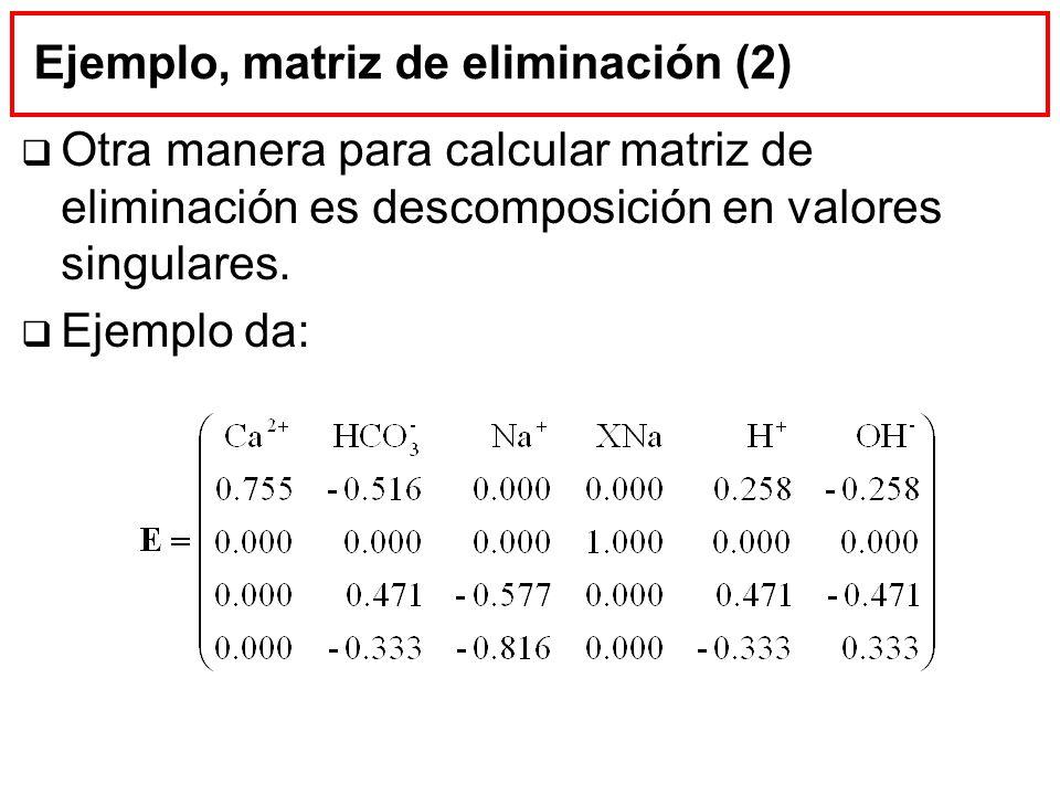 Ejemplo, matriz de eliminación (2)
