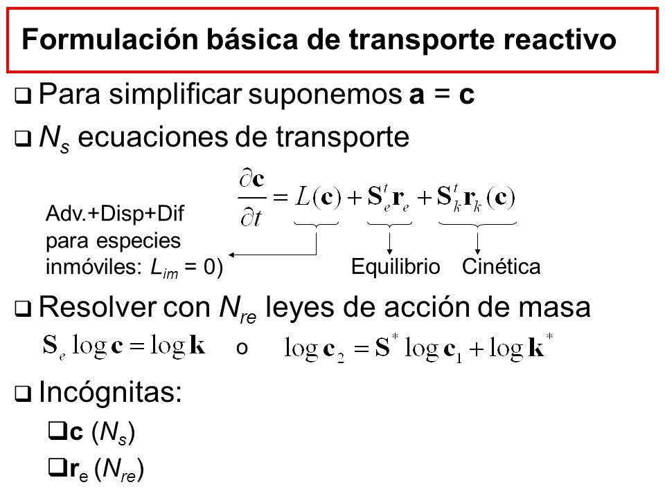 Formulación básica de transporte reactivo