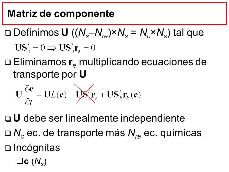 Definimos U ((Ns–Nre)×Ns = Nc×Ns) tal que