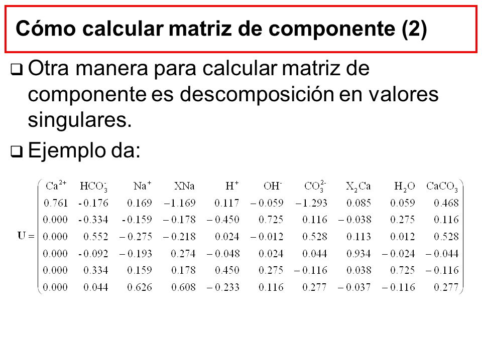 Cómo calcular matriz de componente (2)