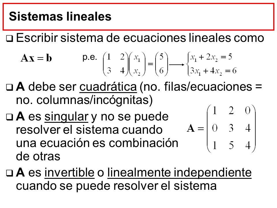 Escribir sistema de ecuaciones lineales como
