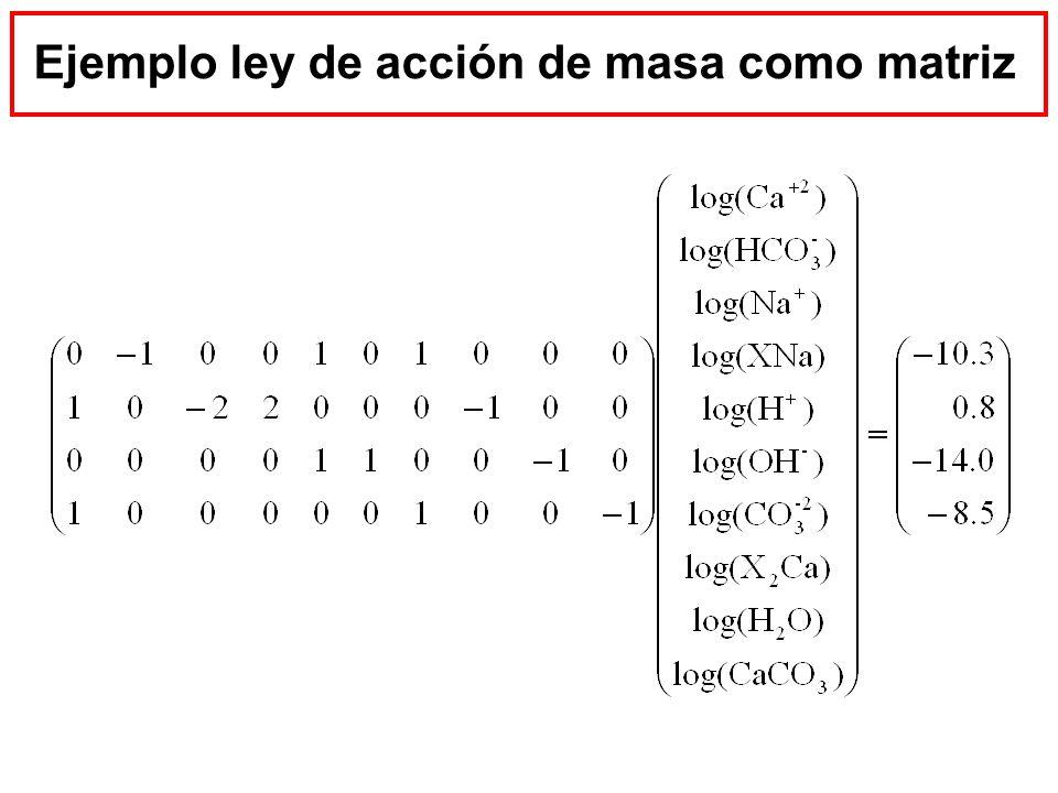 Ejemplo ley de acción de masa como matriz
