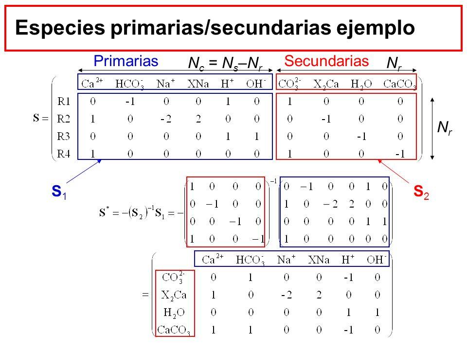 Especies primarias/secundarias ejemplo