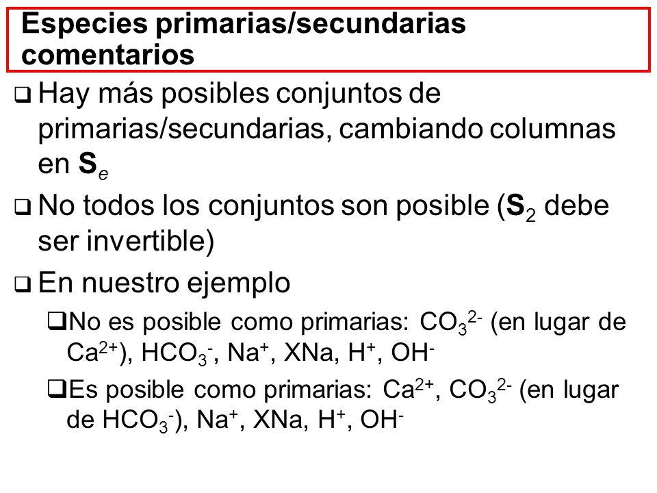 Especies primarias/secundarias comentarios