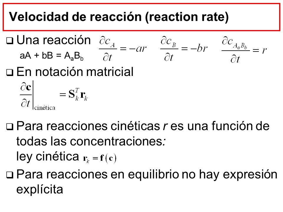Velocidad de reacción (reaction rate)