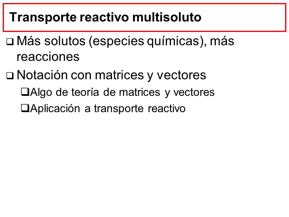 Transporte reactivo multisoluto