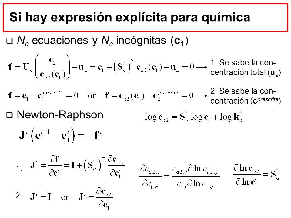 Si hay expresión explícita para química