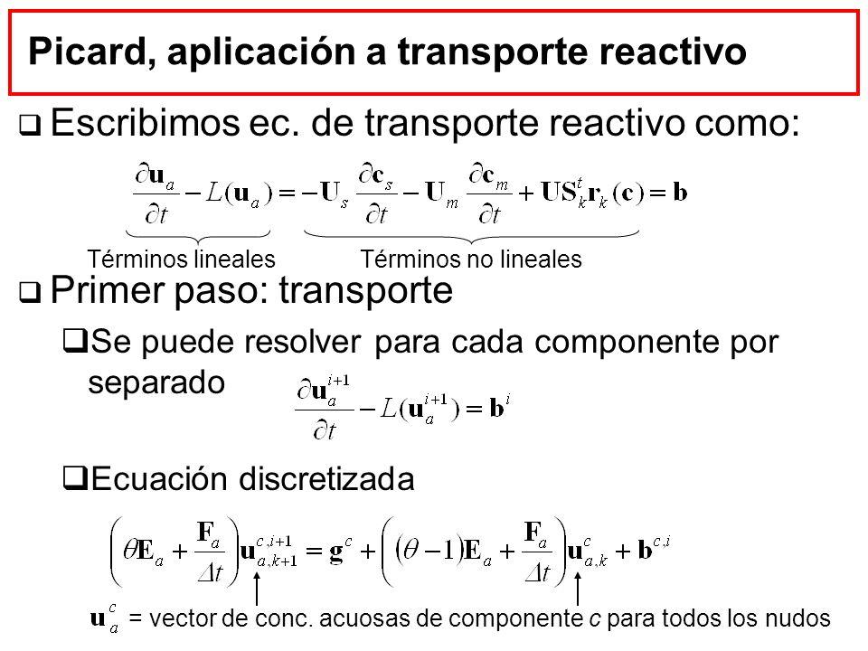 Picard, aplicación a transporte reactivo