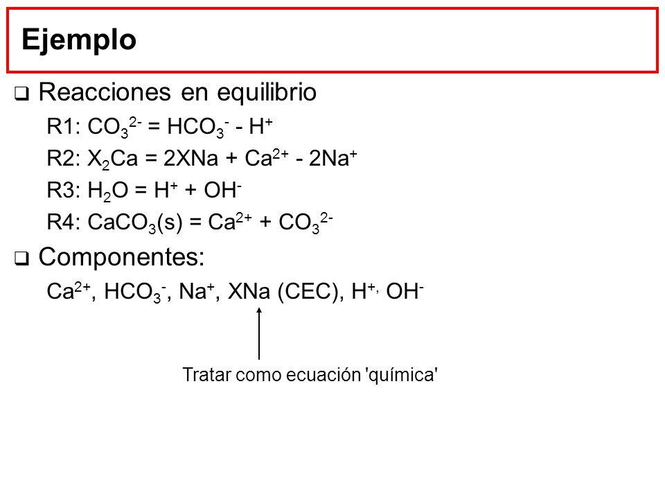 Ejemplo Reacciones en equilibrio Componentes: R1: CO32- = HCO3- - H+
