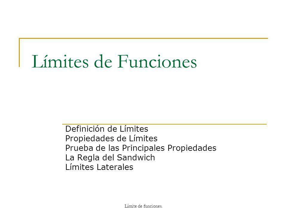 Límites de Funciones Definición de Límites Propiedades de Límites