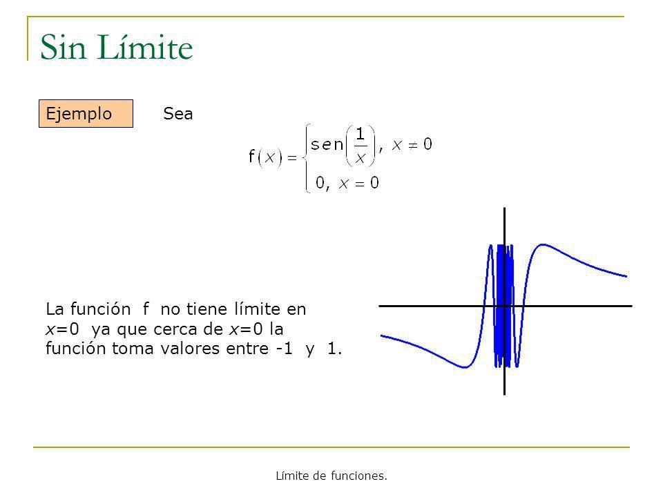 Sin LímiteEjemplo. Sea. La función f no tiene límite en x=0 ya que cerca de x=0 la función toma valores entre -1 y 1.