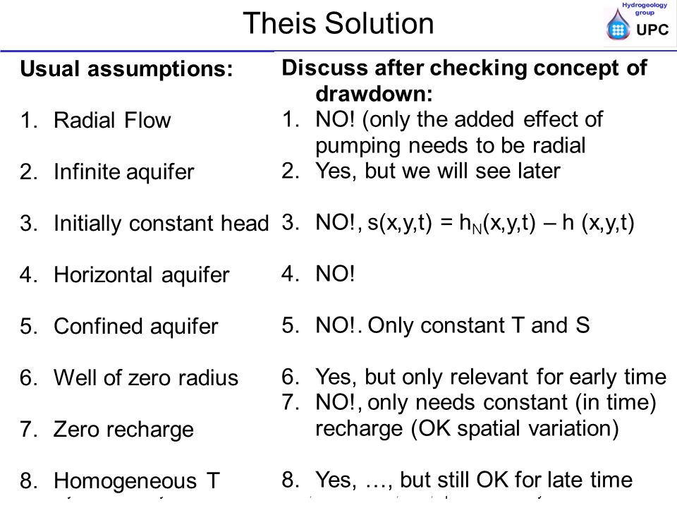 Theis Solution Usual assumptions: