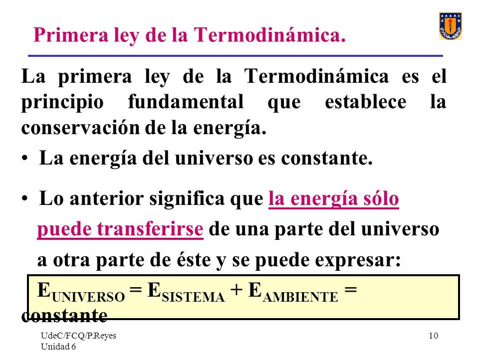 Primera ley de la Termodinámica.