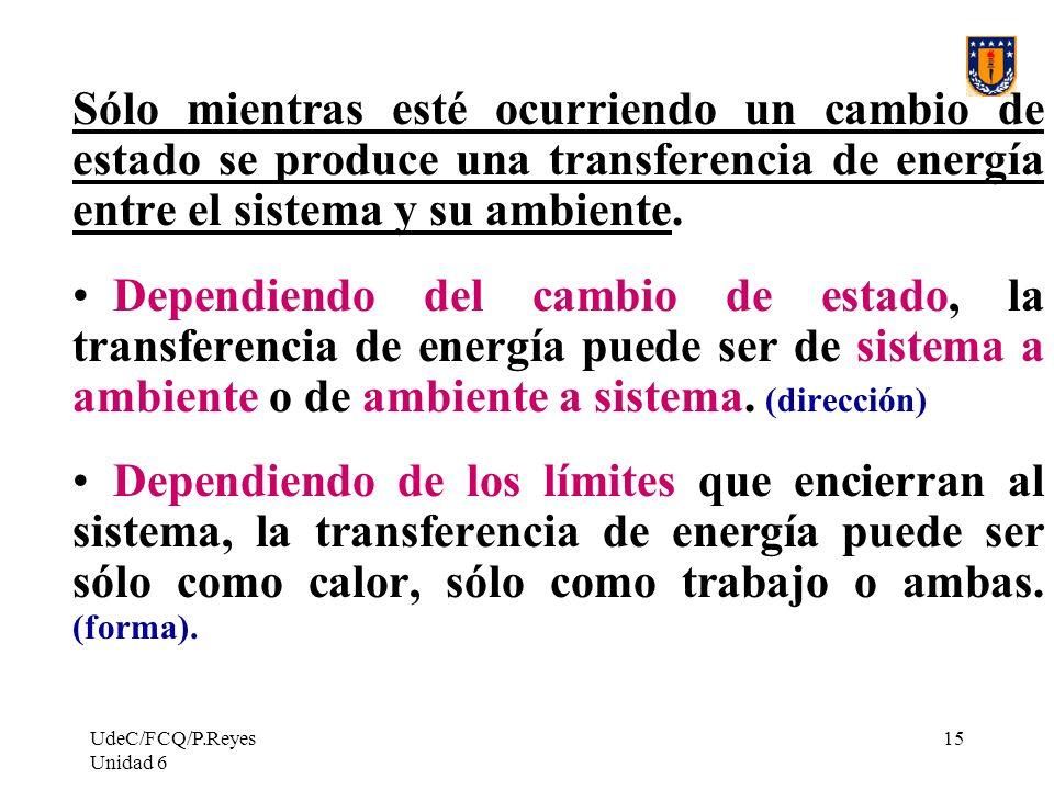 Sólo mientras esté ocurriendo un cambio de estado se produce una transferencia de energía entre el sistema y su ambiente.