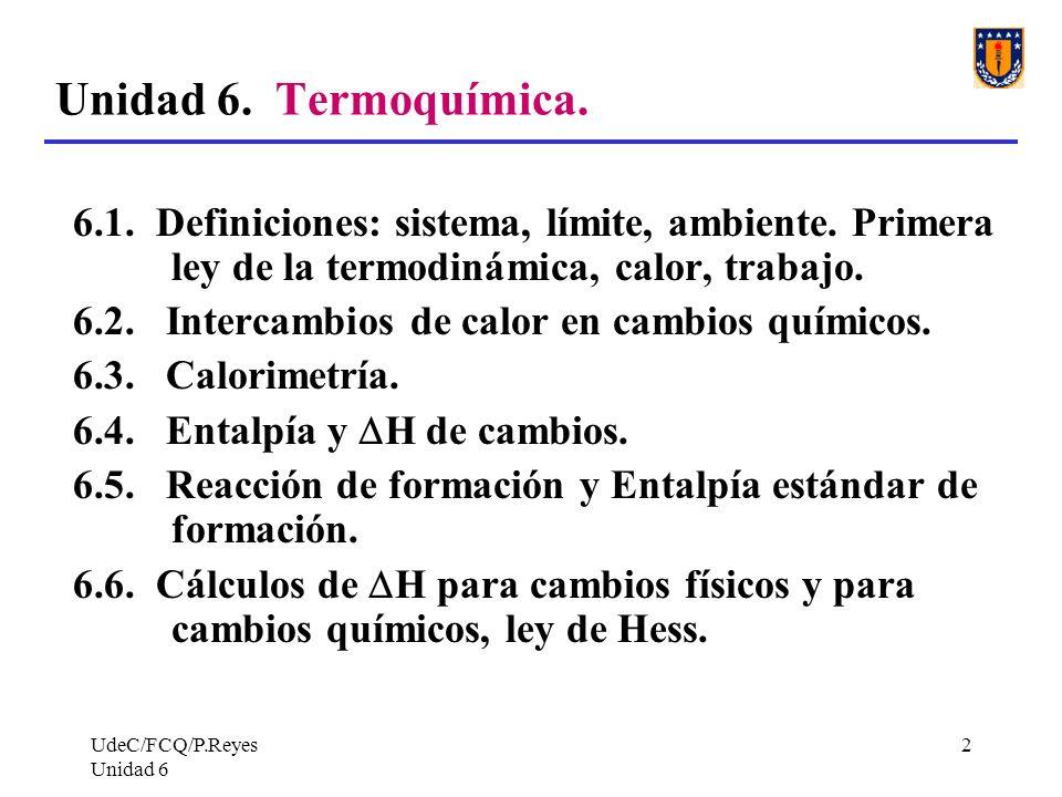 Unidad 6. Termoquímica.6.1. Definiciones: sistema, límite, ambiente. Primera ley de la termodinámica, calor, trabajo.
