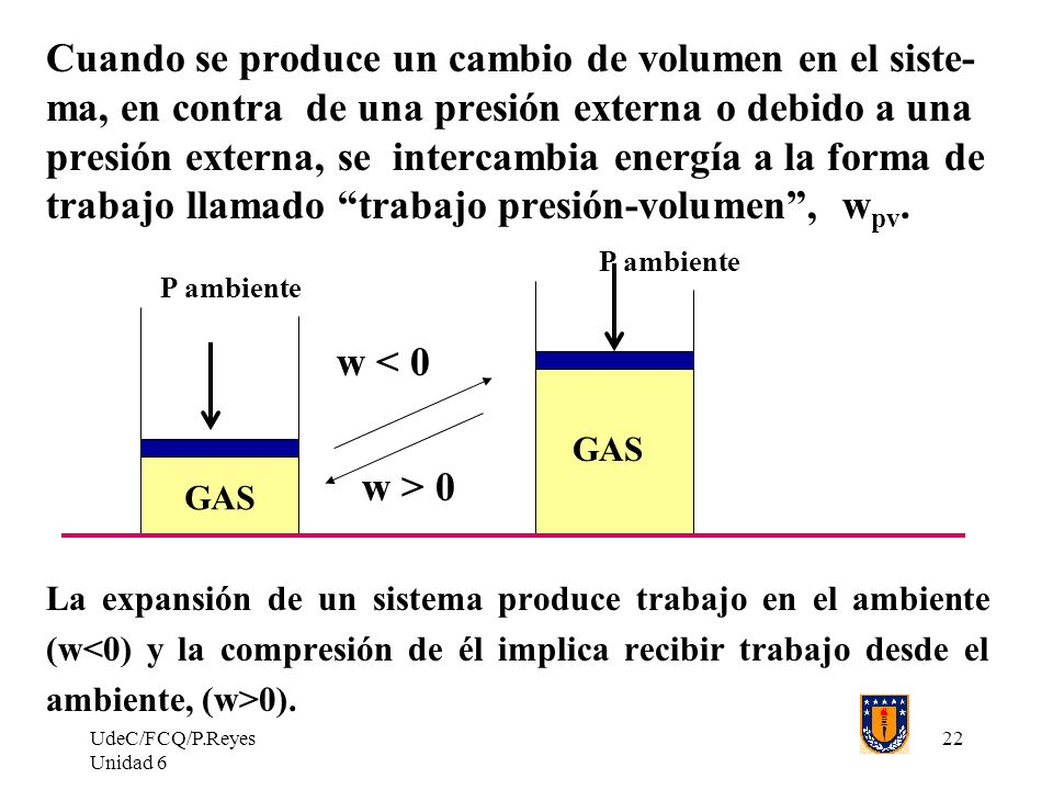 Cuando se produce un cambio de volumen en el siste- ma, en contra de una presión externa o debido a una presión externa, se intercambia energía a la forma de trabajo llamado trabajo presión-volumen , wpv.