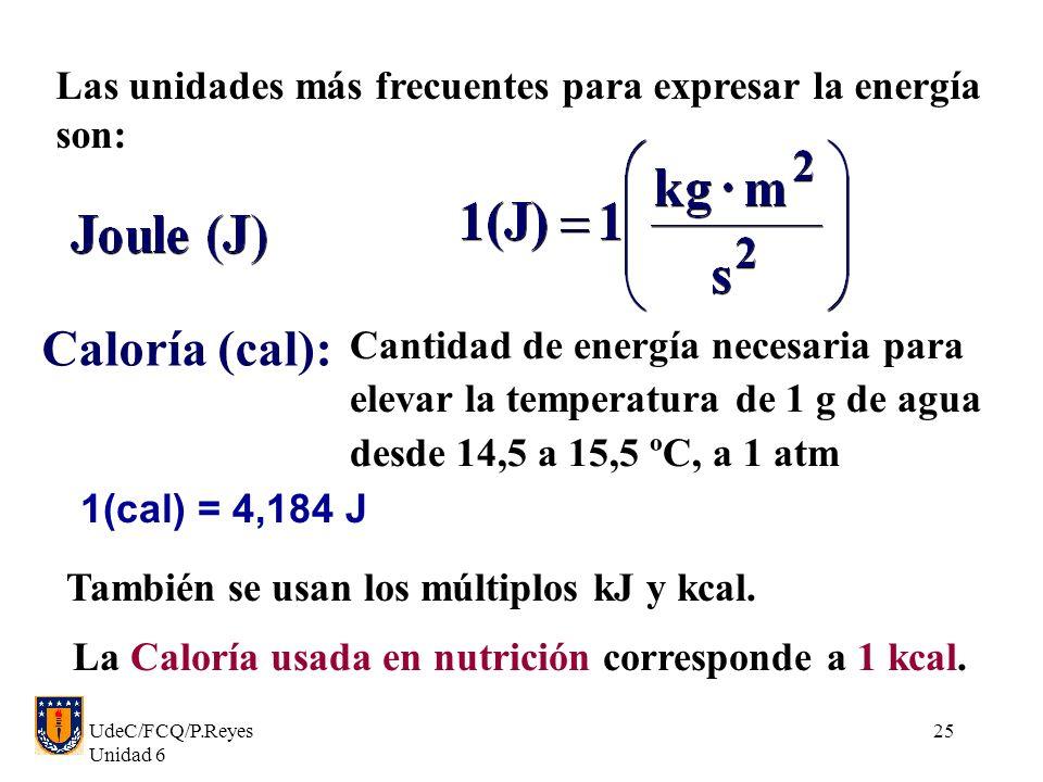 Caloría (cal): Las unidades más frecuentes para expresar la energía