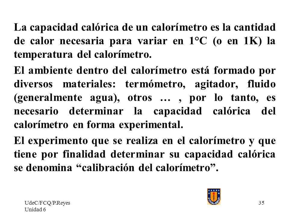 La capacidad calórica de un calorímetro es la cantidad de calor necesaria para variar en 1°C (o en 1K) la temperatura del calorímetro.