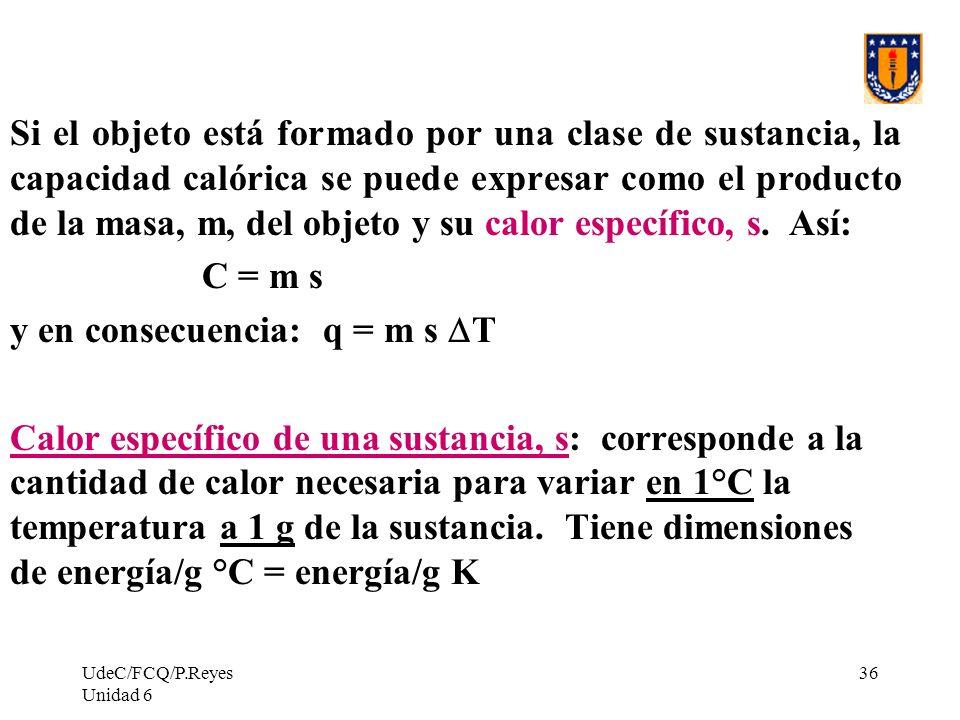 y en consecuencia: q = m s DT