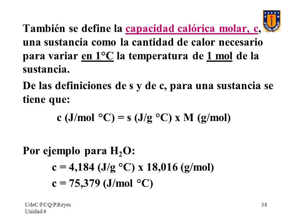 De las definiciones de s y de c, para una sustancia se tiene que: