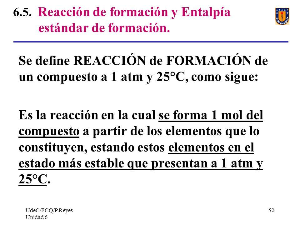 6.5. Reacción de formación y Entalpía estándar de formación.