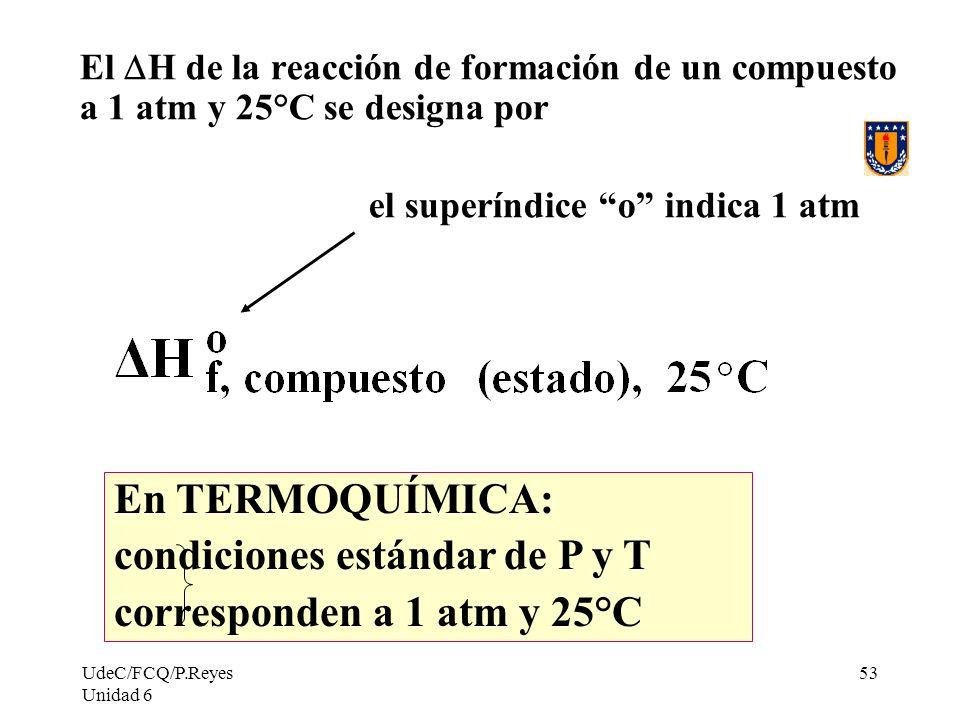 condiciones estándar de P y T corresponden a 1 atm y 25°C