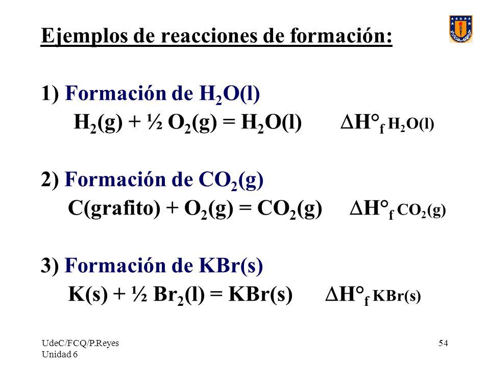 Ejemplos de reacciones de formación: Formación de H2O(l)