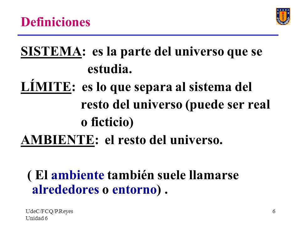 SISTEMA: es la parte del universo que se estudia.