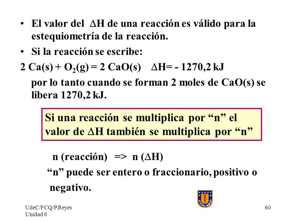 El valor del DH de una reacción es válido para la estequiometría de la reacción.