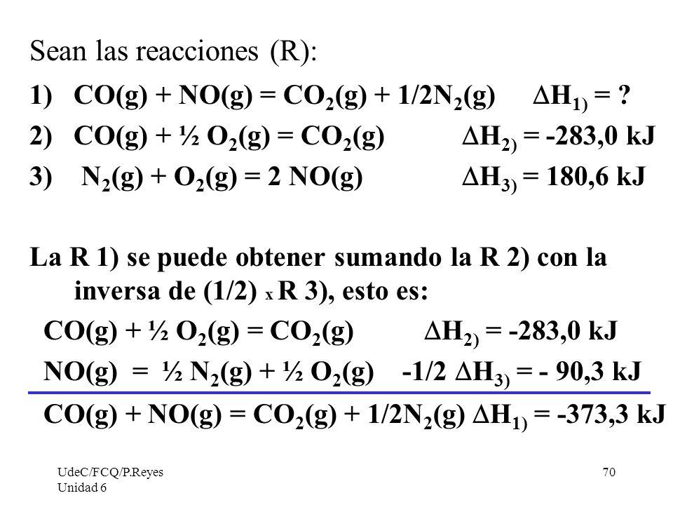 Sean las reacciones (R):