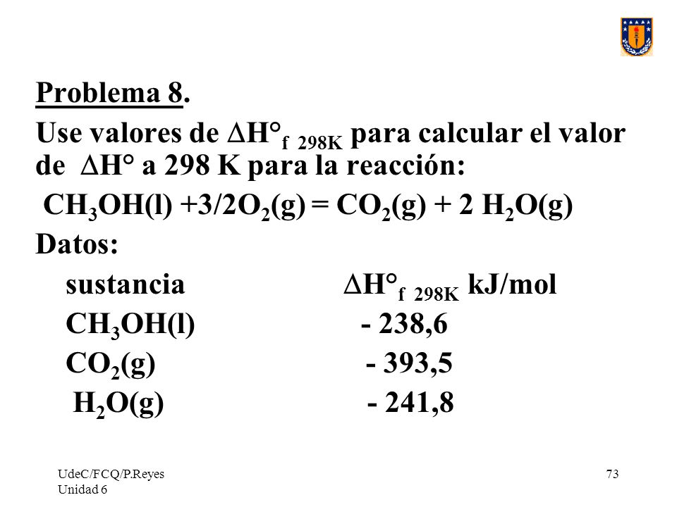 CH3OH(l) +3/2O2(g) = CO2(g) + 2 H2O(g) Datos: